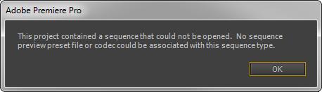 Premiere Pro error message
