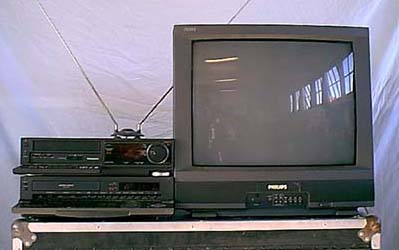 "2 Panasonic S-VHS VCR's connected to a Phillips 25"" television."